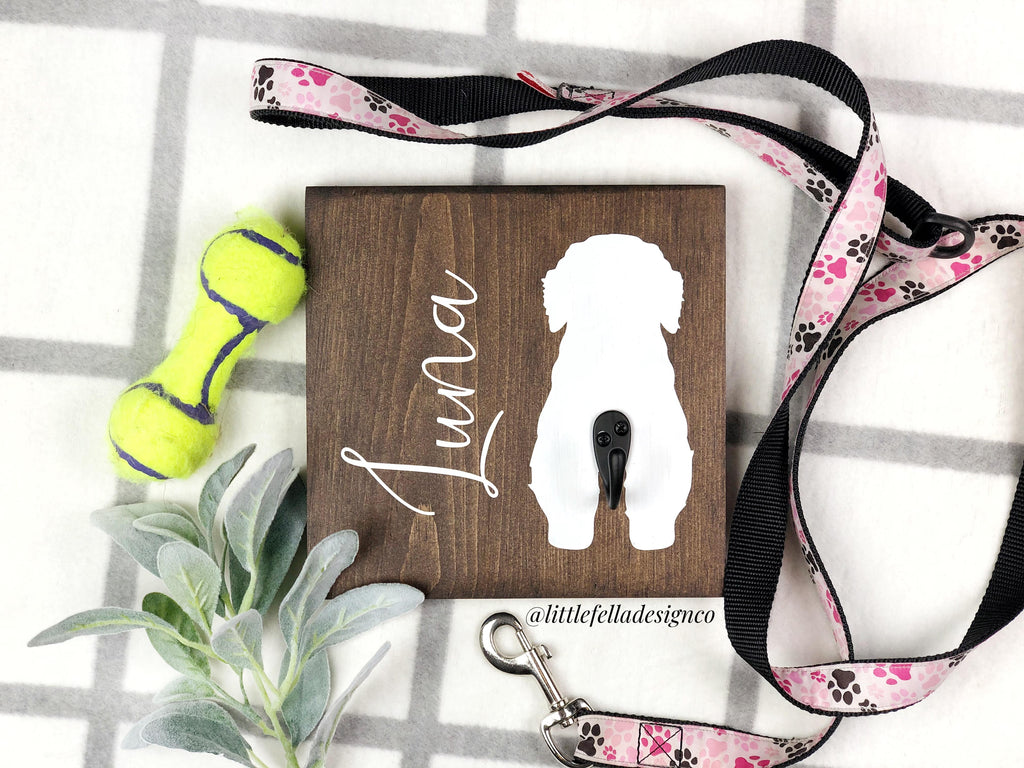 Custom 8x8 in Dog Leash Holder, Personalized Leash Holder, Dog Butt Leash Holder, Pet Leash Holder