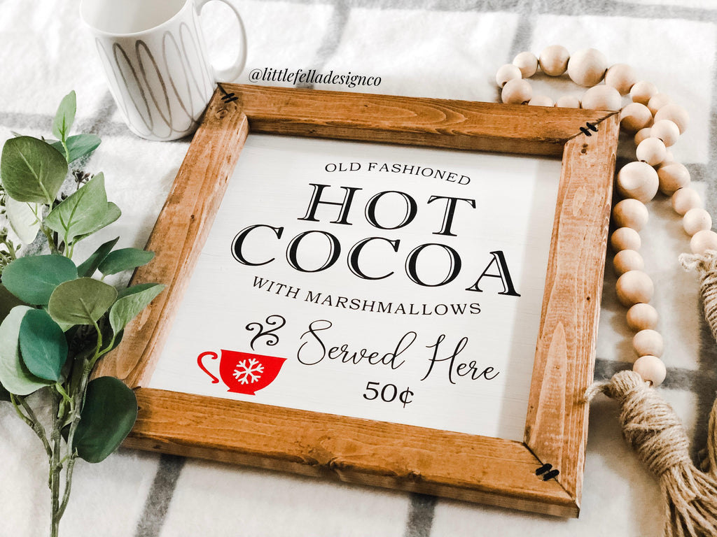 Hot Cocoa Sign, Hot Cocoa Bar Wood Sign, Christmas Decor, Housewarming Gift