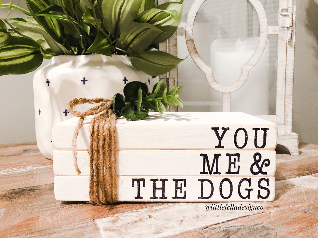You Me And The Dogs Mini Stamped Wood Book Set, Faux Stamped Book Stack