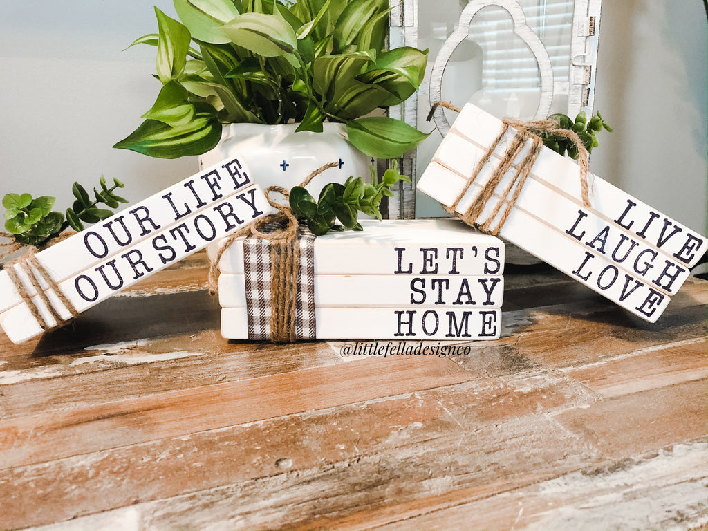 Live Laugh Love Mini Stamped Wood Book Set, Faux Stamped Book Stack