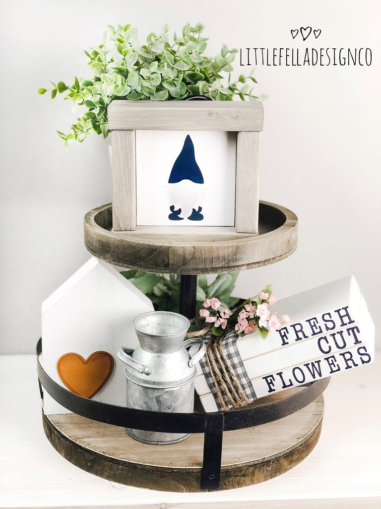 Gnome Mini Wood Sign, Farmhouse Style Sign, Tiered Tray Decor, Spring