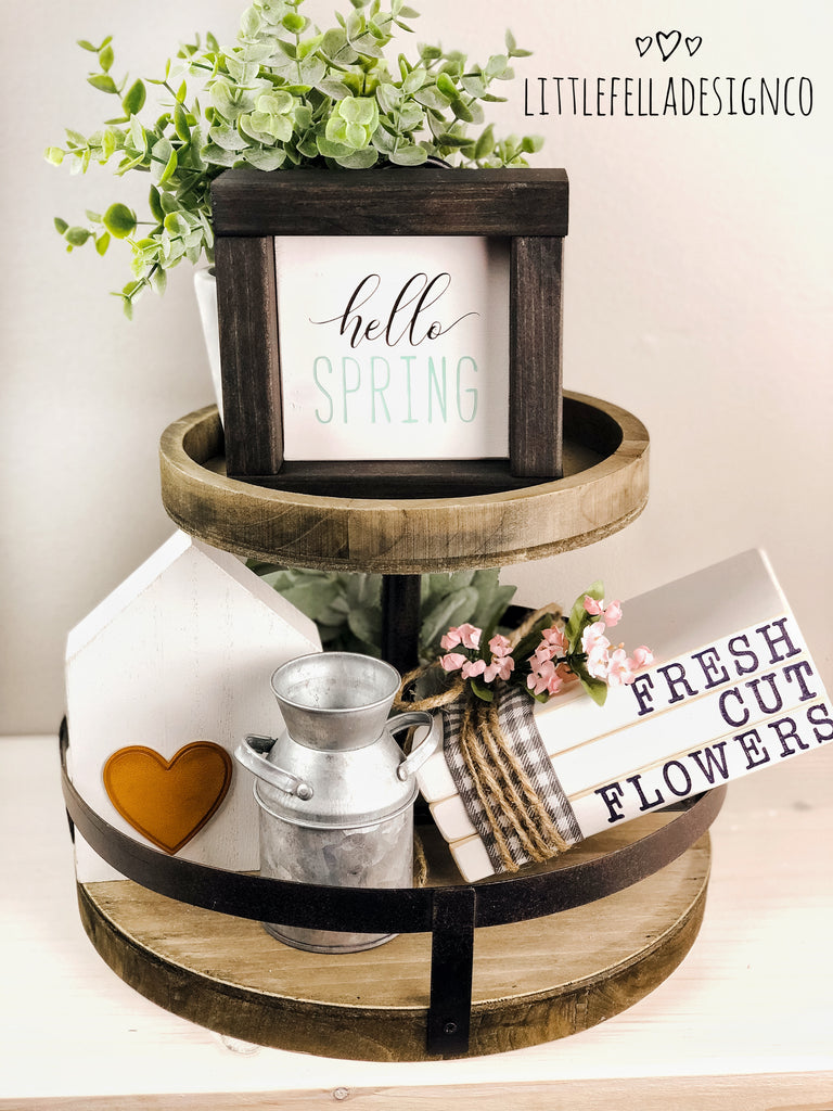 Hello Spring Mini Wood Sign, Farmhouse Sign, Tiered Tray Decor