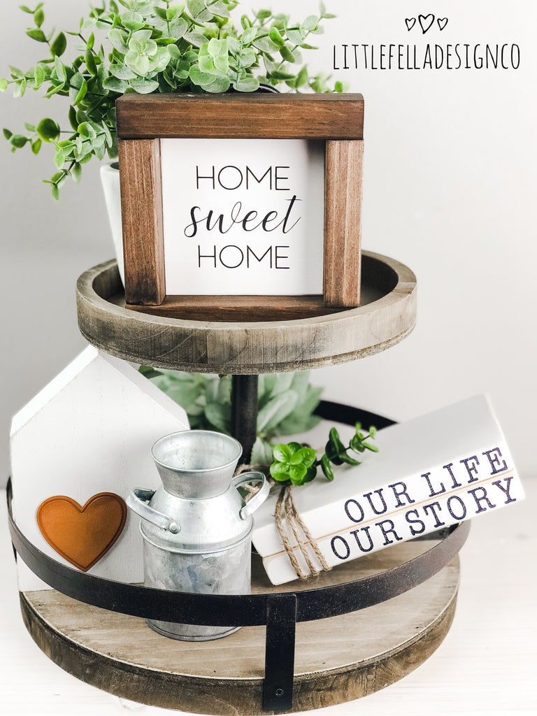 Home Sweet Home Mini Wood Sign, Farmhouse Sign, Tiered Tray Decor