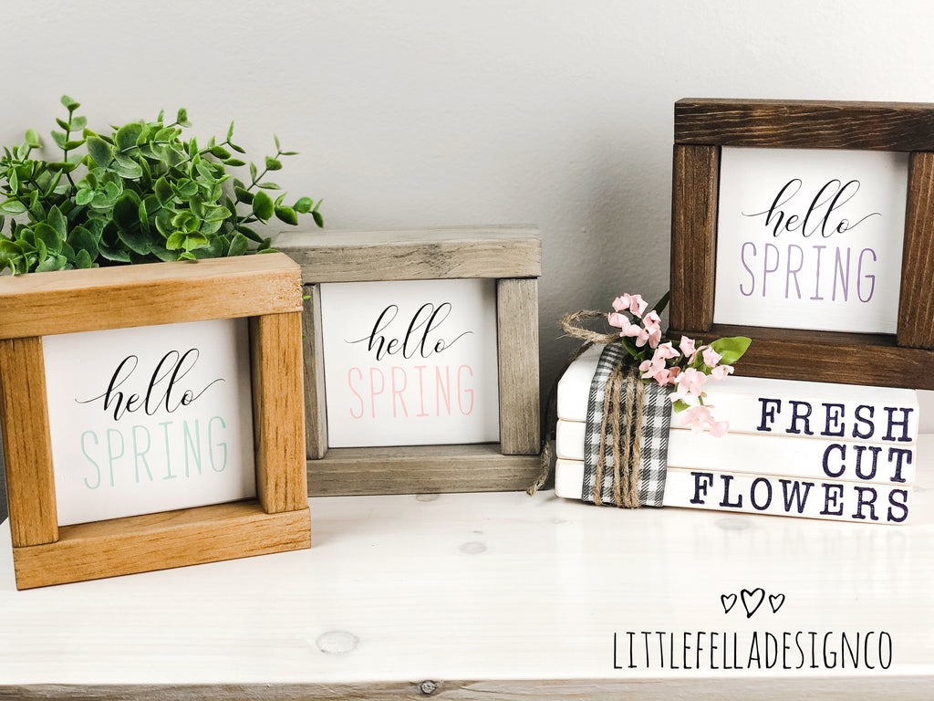 Fresh Cut Flowers Mini Stamped Wood Book Set, Faux Stamped Book Stack, Spring