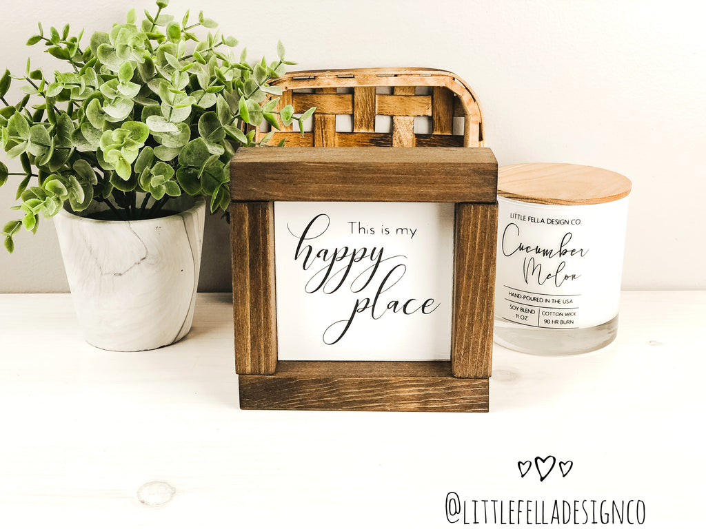 This Is My Happy Place Mini Wood Sign, Farmhouse Sign, Tiered Tray Decor