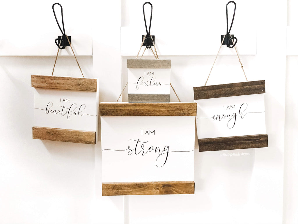"""I AM"" Hanging Wood Sign, Motivation Sign, Inspirational Sign Decor"