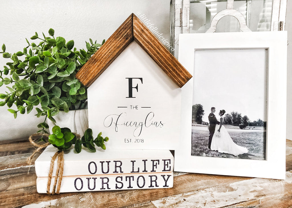 Custom Family Name Mini Wooden House, Tiered Tray Decor, Wood House
