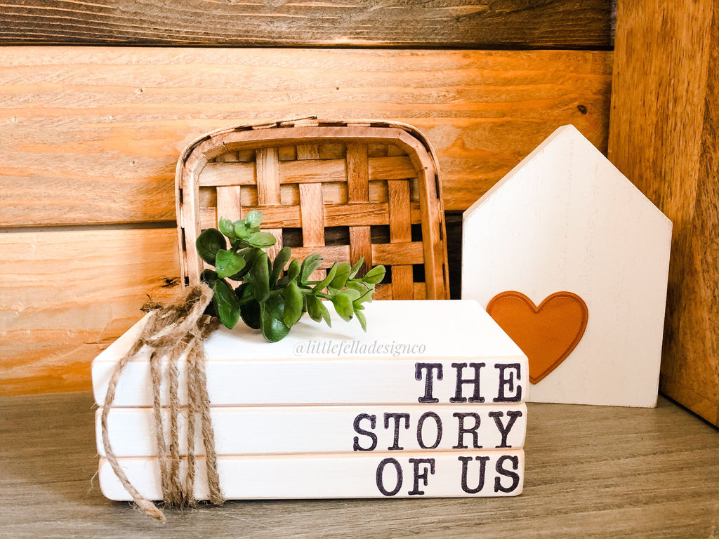 The Story of Us Mini Stamped Wood Book Set, Faux Stamped Book Stack