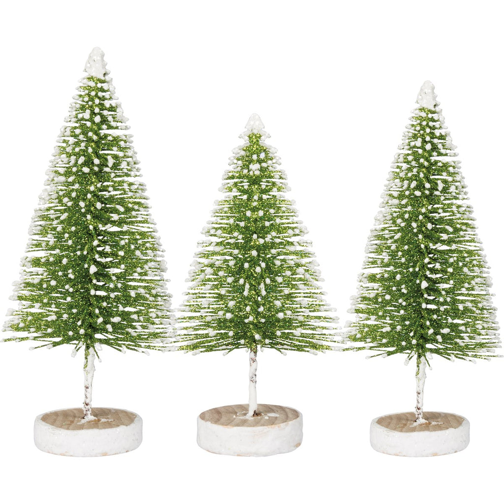 Glitter Bottle Brush Trees- Set of 3