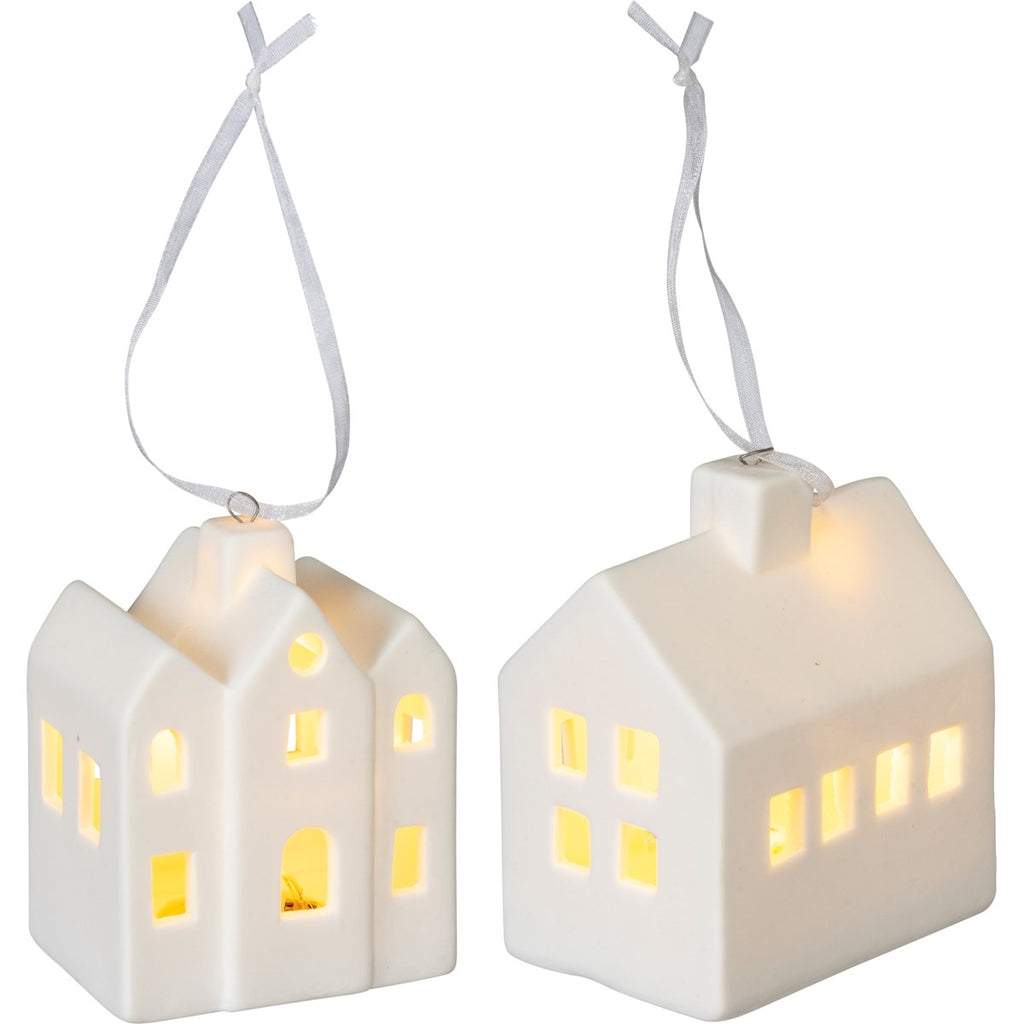 Light Up Stoneware House Ornament Set of 2