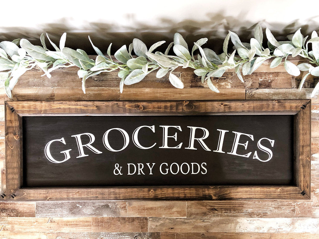 Groceries & Dry Goods Sign, Housewarming gift, Pantry Sign, Grocery Sign, Kitchen Sign