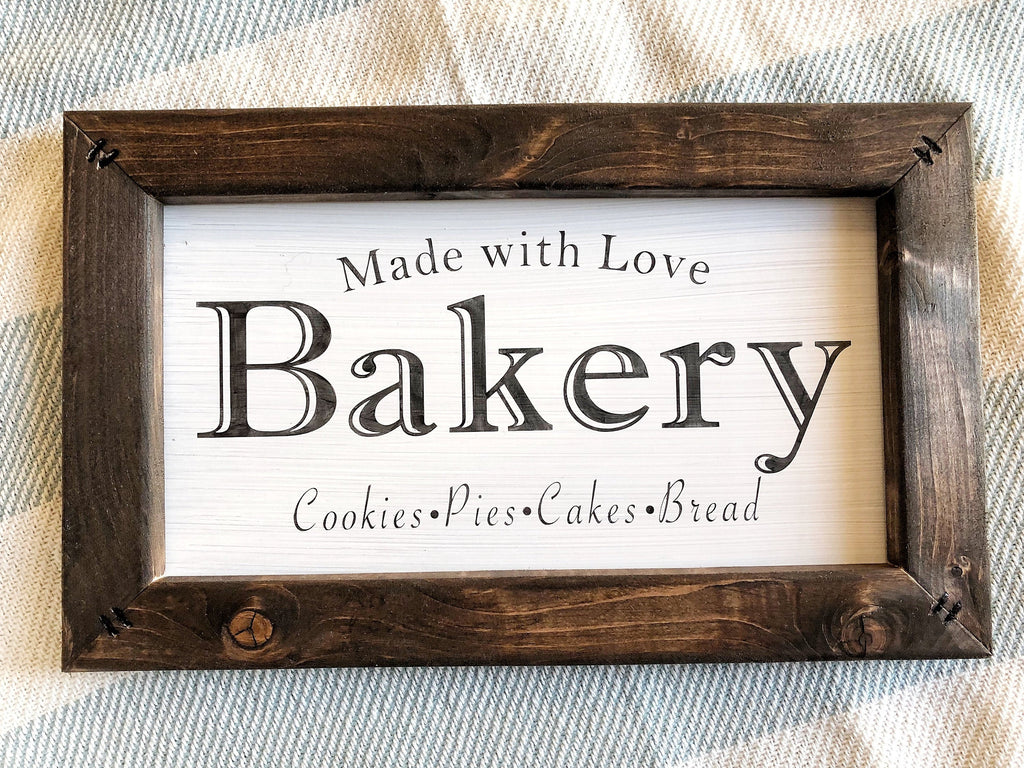Made With Love Bakery Sign, Bakery Wood Sign, Farmhouse Kitchen Decor, Housewarming Gift