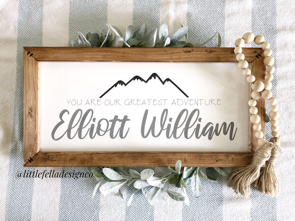 Personalized Baby Name Sign: Our Greatest Adventure