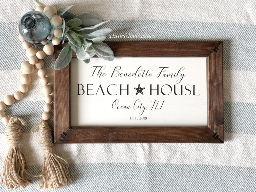 Custom Family Beach House Sign, Family Name Sign, Anniversary Gift, Housewarming Gift