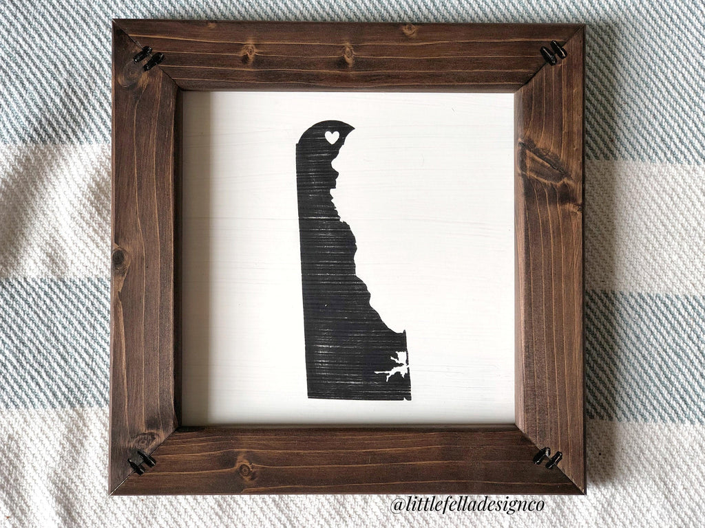 State Silhouette with Heart on City Sign, Anniversary Gift, Housewarming Gift, Wedding Gift