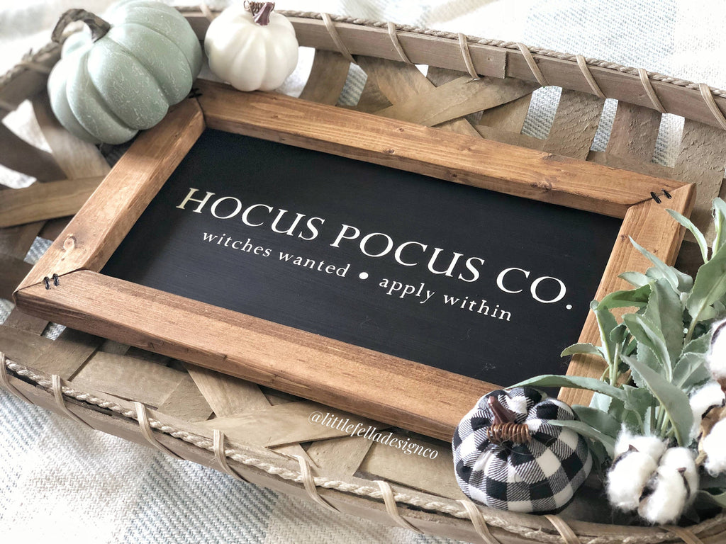 Hocus Pocus Co, Halloween Sign, Halloween Decor, Fall Decor, Fall Wood Sign, Witches Wanted Sign