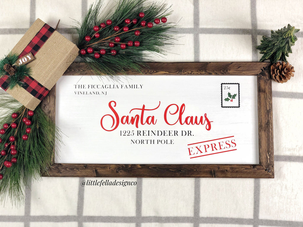 Custom Letter to Santa Sign, Family Name Christmas Sign, Christmas Gift,  Personalized Christmas Sign