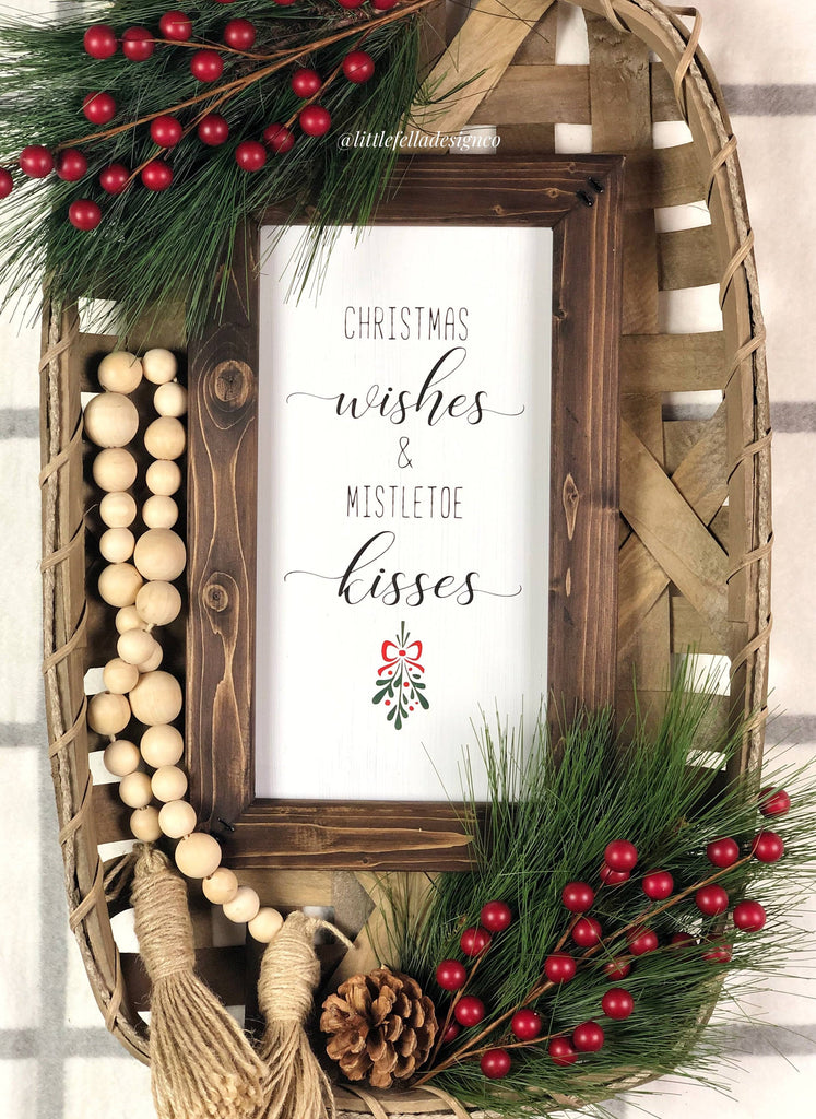 Christmas Wishes and Mistletoe Kisses Sign, Christmas Wood Sign, Christmas Gift, Christmas Sign