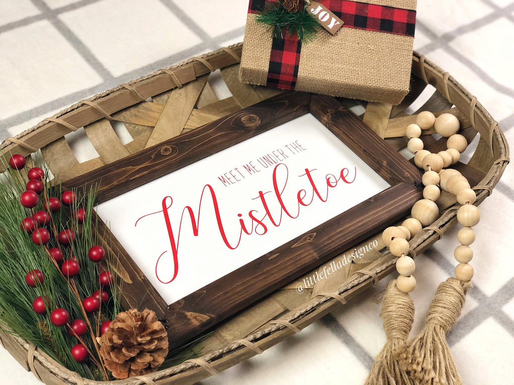 Meet Me Under The Mistletoe Wood Sign, Christmas Wood Sign, Christmas Gift, Merry Christmas Sign