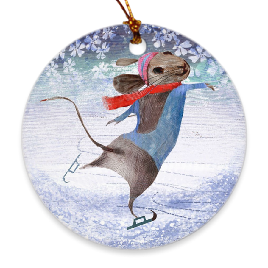 Mice on Ice Porcelain Ornament