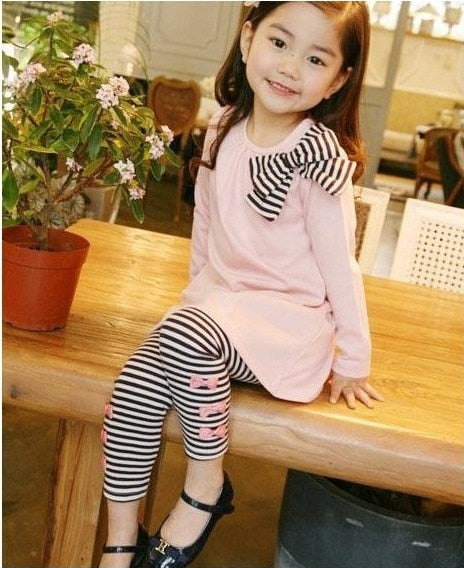 toddler girl bow+striped leggings