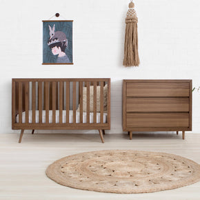 Nifty Timber Cot in Walnut