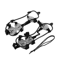 1Pair 15-Stud Camping Hiking Climbing Anti Slip Ice Cleats Shoes Boot Grips Crampons Winter Outdoor Sport Climbing Accessories
