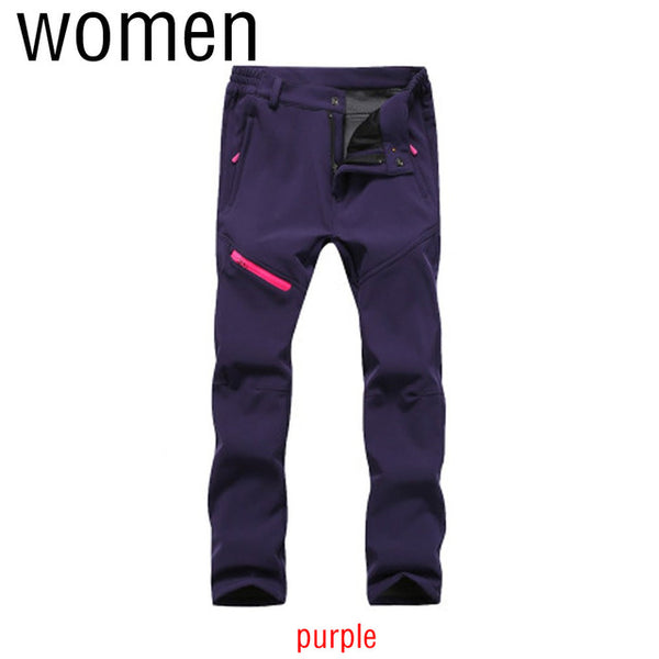 Thick Soft Warm Men Women Pants Solid Color Zipper Closure Waterproof Windproof Elastic Trousers Outdoor Climbing Long Pants