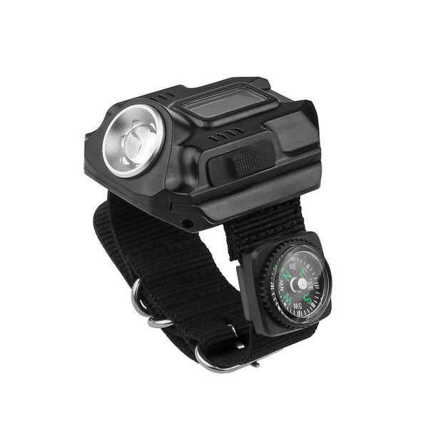 Outdoor Hiking LED Flashlight Watch Rechargeable Waterproof Lamp 4 mode SOS Time Display with Compass