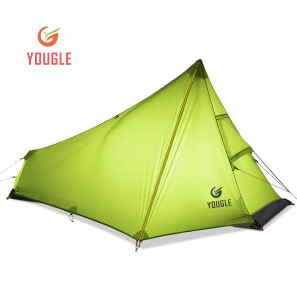 YOUGLE Lightweight 15D Nylon Single Person One Man Backpacking Tent Trekking Camping Canopy Travel 3 Season Silicone Coated