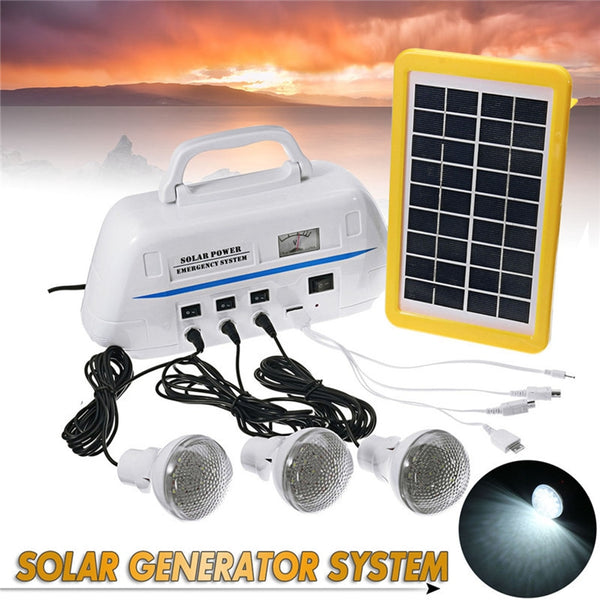 Mising Solar Powered Outdoor Camping Portable Solar Generator System with LED Light Bulbs Emergency Light Hand Hiking Lighting
