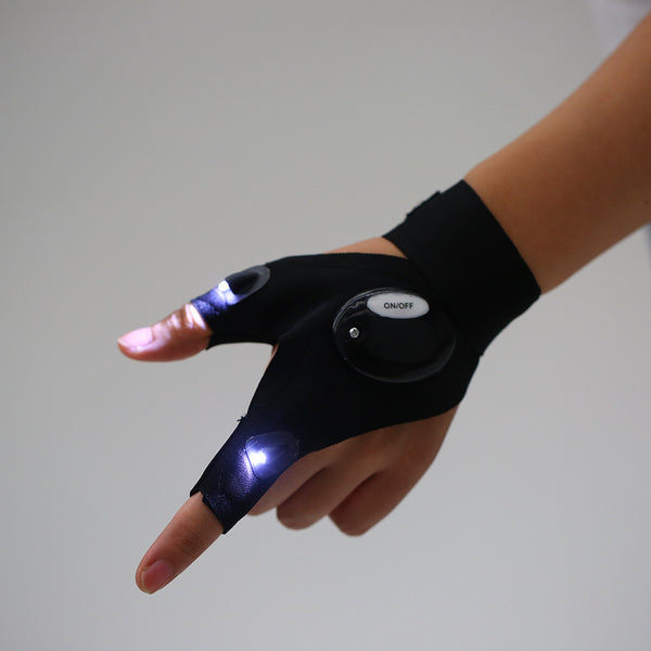 LED Light Glove Fingerless Lighting Glove Outdoor Lighting Flashing Glove for Camping Hiking Repairing