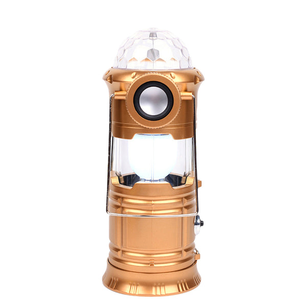 Collapsible LED Stage Flashlight Bluetooth Musical Waterproof Camping Lantern Light for Fishing Hiking Hunting Party Decoration (Golden)