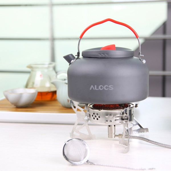 Alocs Camping Water Tea Kettle Picnic Pot Alcohol Stove with Bracket Outdoor Travel Cookware Hiking Equipment Set CW-K04