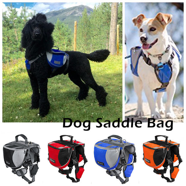 luxury Pet Outdoor Backpack Large Dog Adjustable Saddle Bag Harness Carrier For Traveling Hiking Camping