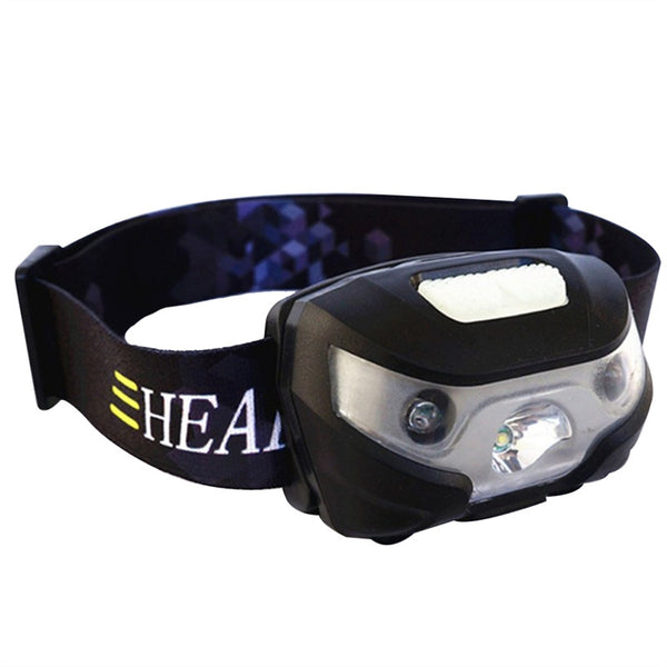 LED Headlamp Waterproof Bright USB Sensor Headlight for Running Hiking Camping Reading Fishing Hunting Jogging (Black)