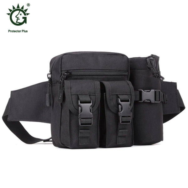 Protector Plus Tactical Waist Pack Bag With Water Bottle Holder Pouch Waterproof Waist Bag for Cycling Camping Hiking Hunting