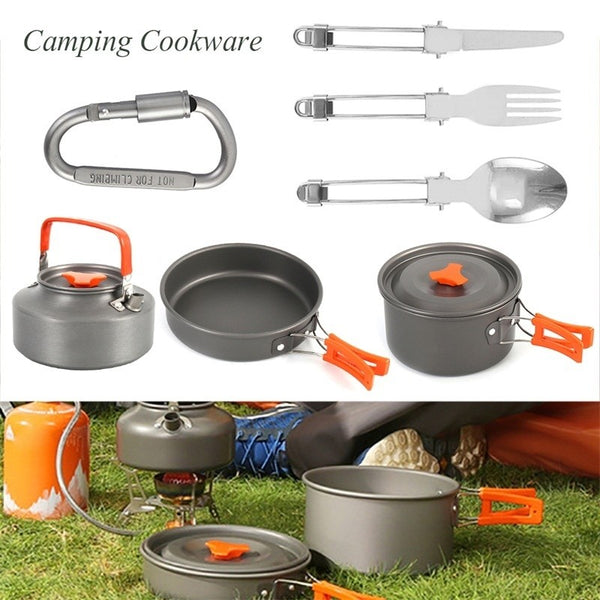 Camping Cookware 1-5 People,Outdoor Cooking Pots Equipment Stainless Hiking Cookware Kit Non stick Teapot and Pans Lightweight with Mesh Set Bag for Backpacking,Hiking, Picnic