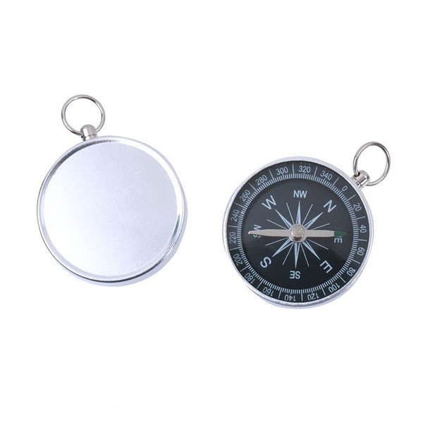 Aluminum Outdoor Camping Hiking Navigation Compass with Silver Key Chain