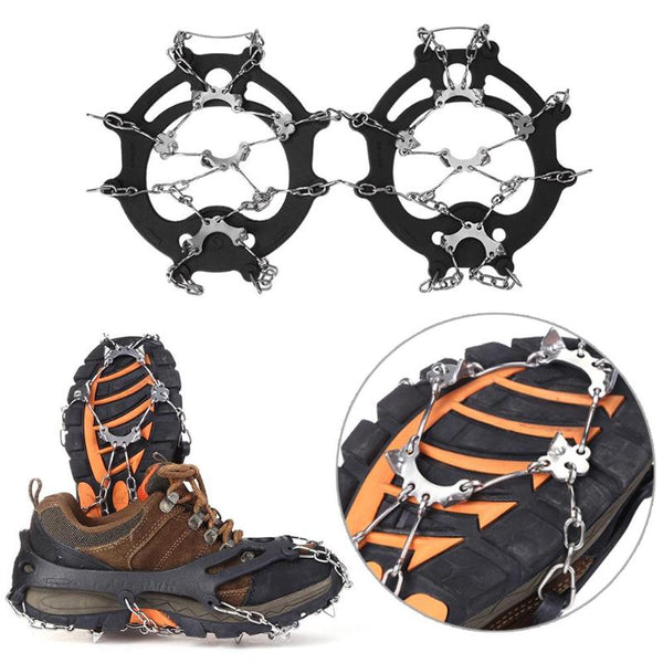 1 Pair8 Teeth Non-slip Claws Ice Crampons Manganese Steel & Stainless Steel Gripper Ski Snow Cleats Hiking Climbing Shoes Chain