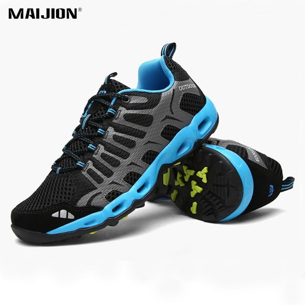 MAIJION Breathable Mesh Vamp Hiking Shoes Men Non-slip Durable Outdoor Sneakers Women Soft Wear-resisting Trekking Lace-up Shoes