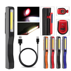 Portable LED+COB Rechargeable Work Light Magnetic Pen Clip Camping Car Inspection Flashlight  Emergency Lamp