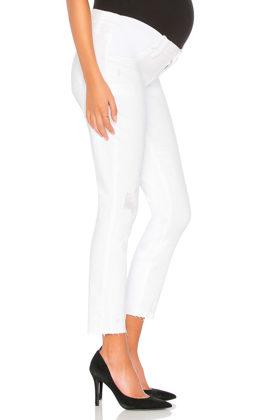 Paige Verdugo Crop Maternity Raw Edge Denim