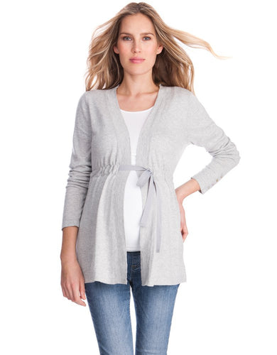 Adella Gray Cotton Blend  Cardigan