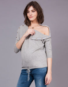 Gabbie Drawstring Hem Oversized Jumper Grey