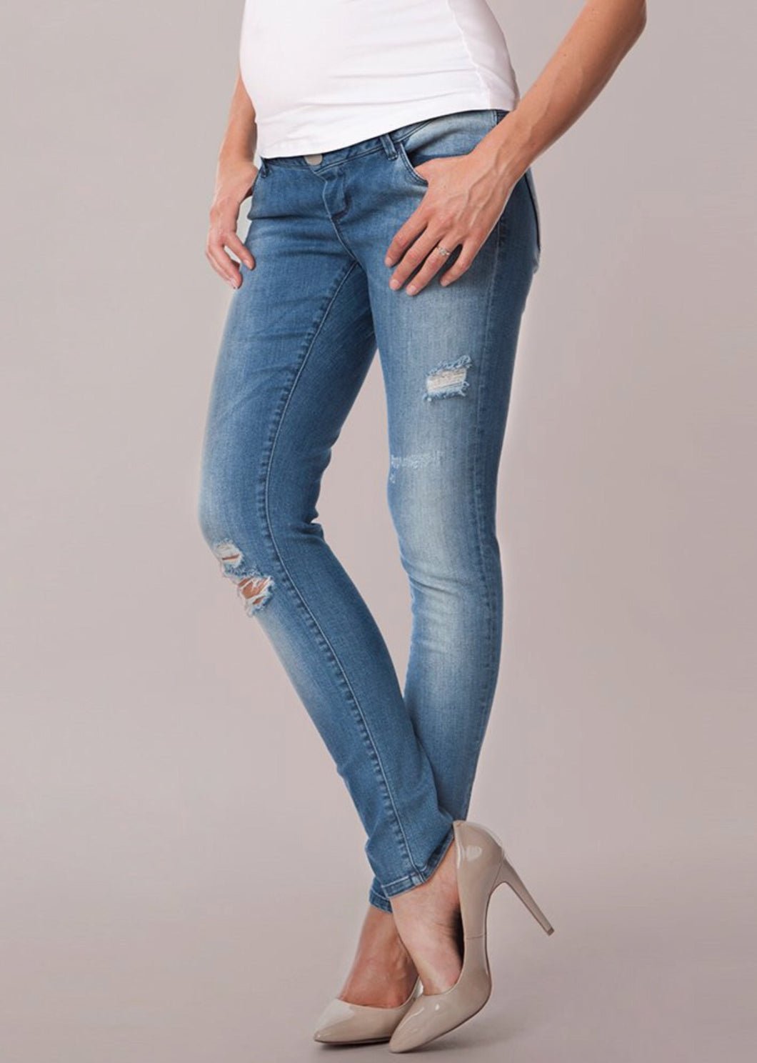 Georgie Over Bump Ripped Maternity Jeans
