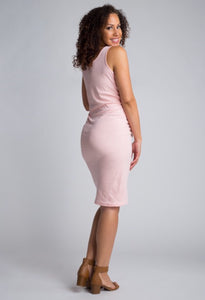 Riley Sleeveless Fitted Maternity Dress BLUSH