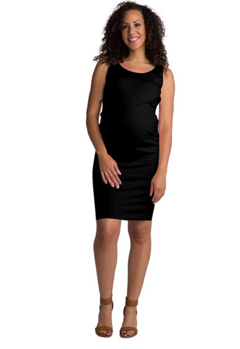 Riley Sleeveless Fitted Maternity Dress BLACK