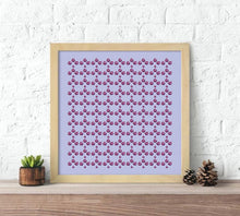 Load image into Gallery viewer, cotton and silk scarves, colorful graphic print, colorful pattern scarves, purple scarf, violet scarf, lilac scarf, fig scarf, silk wrap scarves, prints silk scarf, prints cotton scarf, hand illustrated scarves
