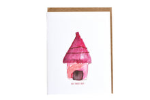 Load image into Gallery viewer, Pink Hut Greeting Card, Hut Sweet Hut Greeting Card, Housewarming gift, housewarming card, Handmade Greeting Card, Hand Painted Greeting Cards, Watercolor Art Pink Hut, Made in New Orleans